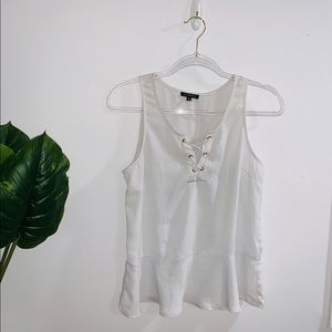 Dynamite White Laced Up Chest Tank Top Medium